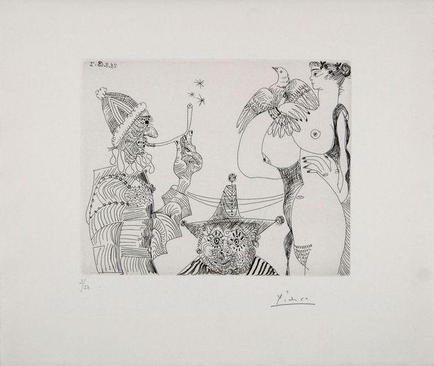 Pablo Picasso, Opiumträume, 1968 Fumatore in veste papale che scopre il mistero della Trinità nel seno...