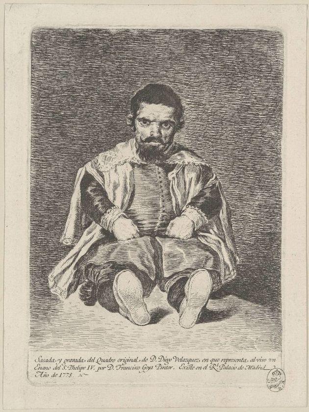 Francisco de Goya, Sebastián de Morra, buffone di corte del re spagnolo Filippo IV, 1778. Acquaforte,