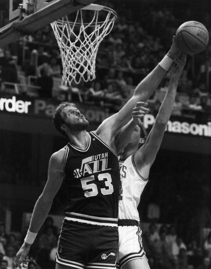 Mark Eaton, #53 of the Utah Jazz, circa 1989 against the Boston Celtics.