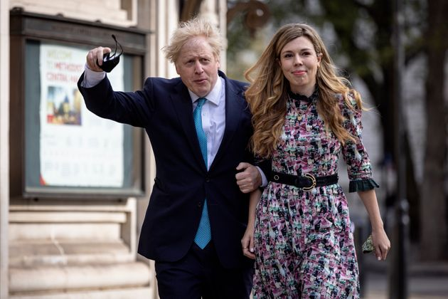 LONDON, ENGLAND - MAY 06: Prime Minister Boris Johnson and his fiancée Carrie Symonds arrive at Methodist...