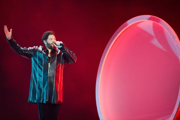 UK representative James Newman on stage during this year's Eurovision Song