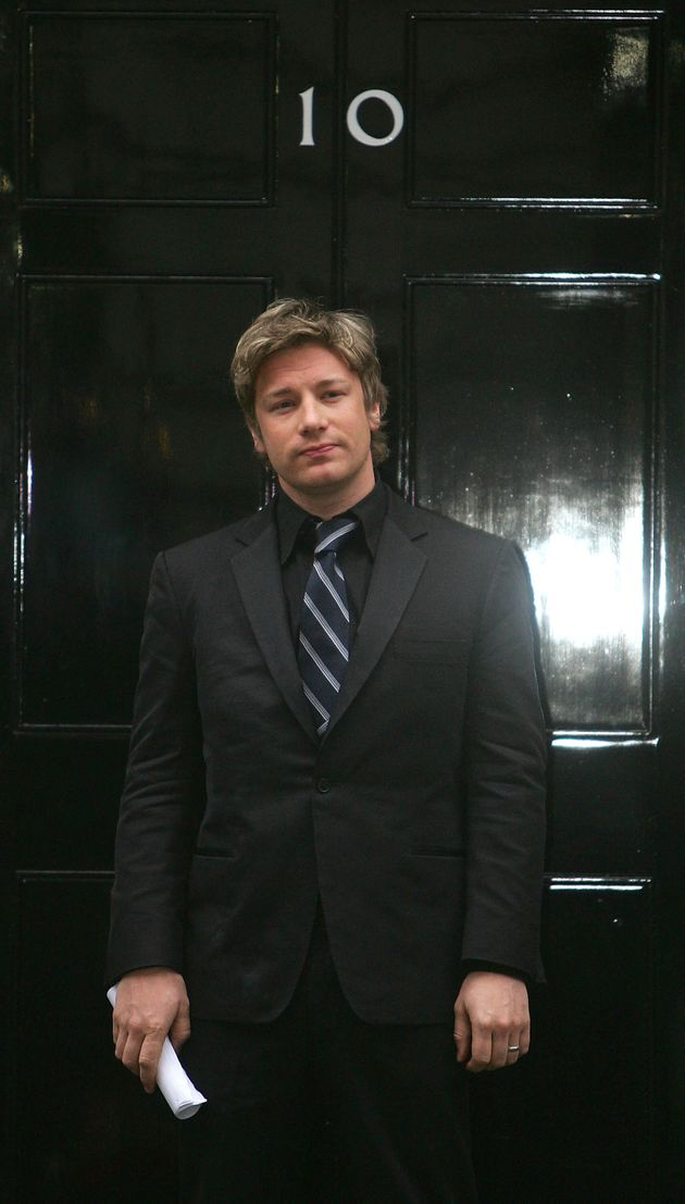 Jamie Oliver outside 10 Downing Street in