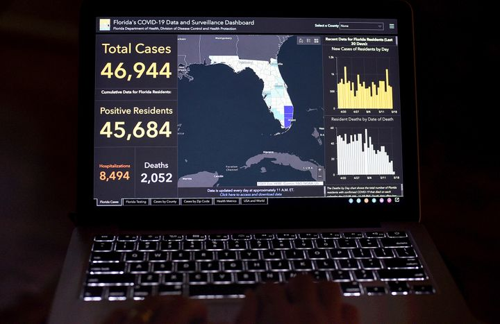 Florida's COVID-19 Data and Surveillance Dashboard is seen on a computer screen. Rebekah Jones, the woman who created and ran