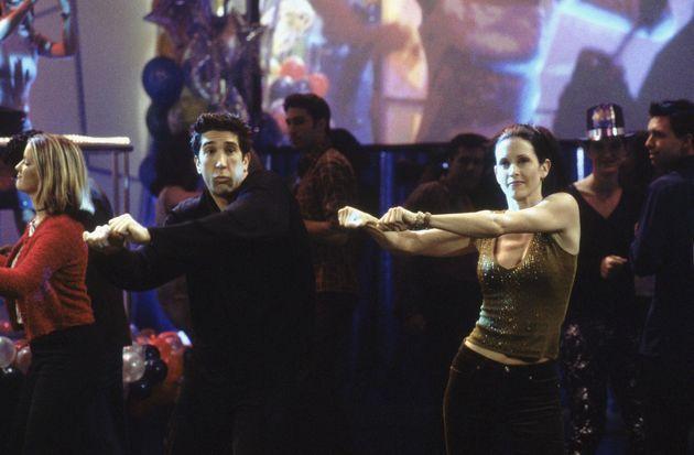 David Schwimmer as Ross Geller, Courteney Cox as Monica Geller inThe One With The