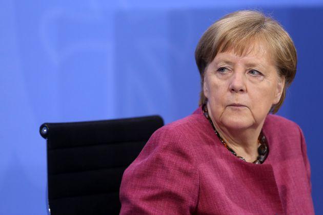 BERLIN, GERMANY - MAY 27: German Chancellor Angela Merkel (CDU) attends a press conference after talks...