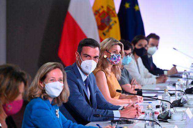 Ribera, Calviño, Sánchez, Díaz, Laya y Reyes Maroto en la cumbre con Polonia en Alcalá de