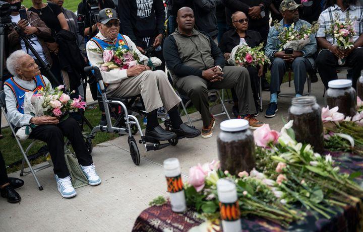 Survivors Viola Fletcher (left) and Hughes Van Ellis look on during a soil dedication ceremony in Tulsa, Oklahoma, for victim