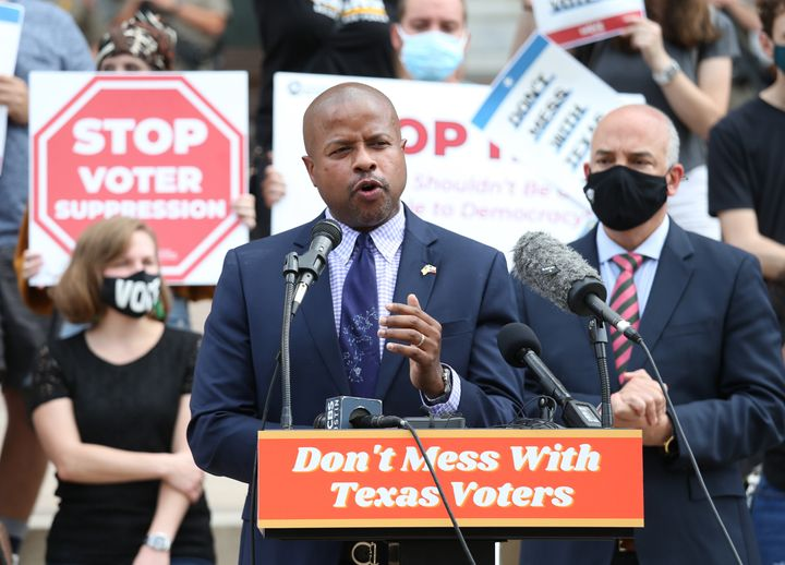 """Texas House Representative Ron Reynolds speaks during the """"Texans Rally For Our Voting Rights"""" event at the Texas Capitol Bui"""