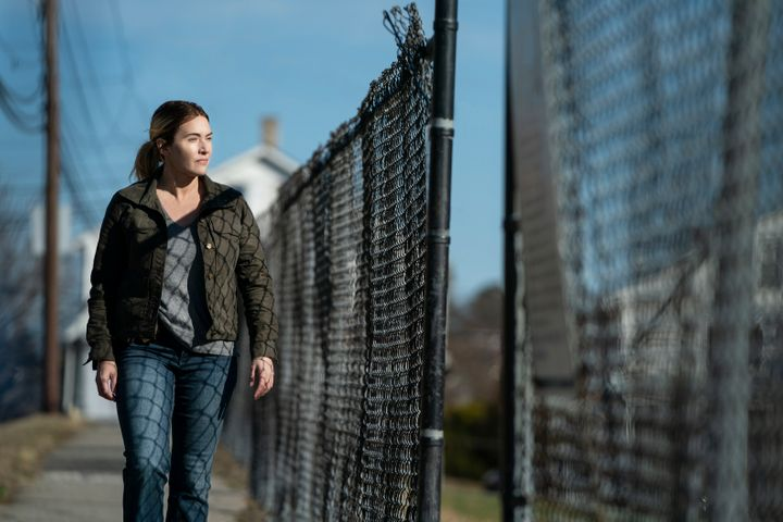 """Kate Winslet as small town police detective Mare Sheehan in the final episode of HBO's limited series """"Mare of Easttown,"""" whi"""