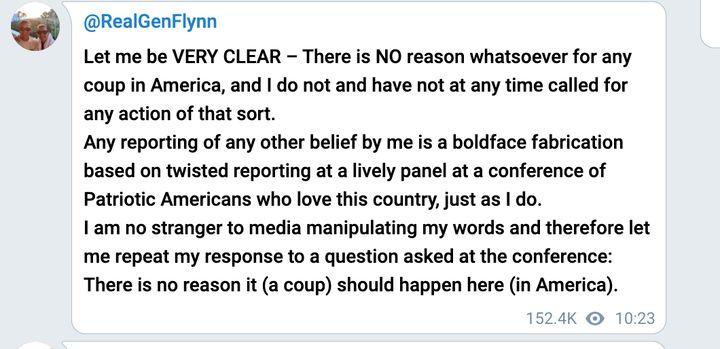 Screen shot of Telegram post linked to Michael Flynn.