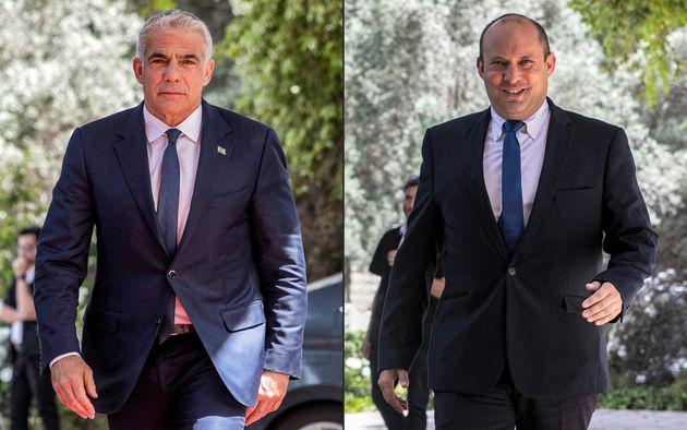 Yair Lapid y Naftali Bennett, en sus visitas al presidente Rivlin para hablar sobre la formación...