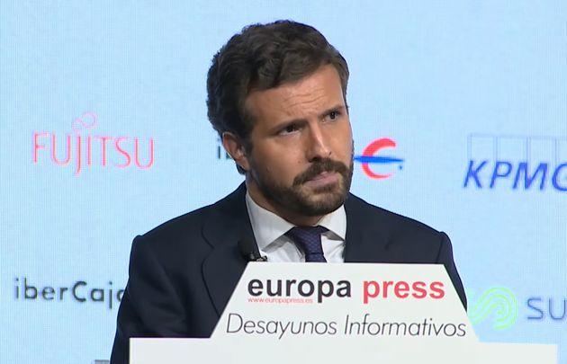 Pablo Casado, durante el desayuno informativo de Europa