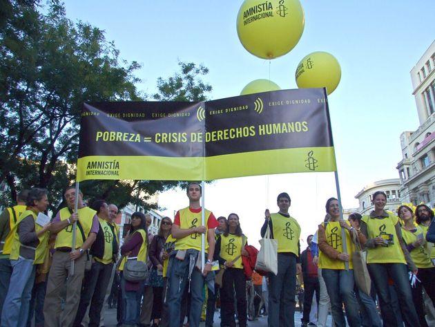 Una manifestación de Amnistía Internacional en el centro de