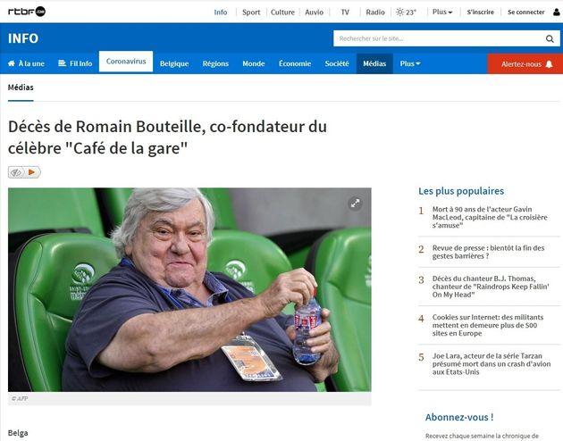 Cette erreur de la RTBF sur Romain Bouteille est digne d'un sketch du Café de la