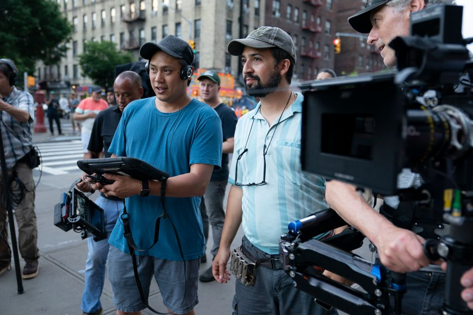"""""""In the Heights"""" director Jon M. Chu (left) with creator Lin-Manuel Miranda (right) on the film's set."""