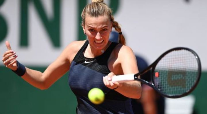Petra Kvitova during her first round victory at the French Open on Sunday.