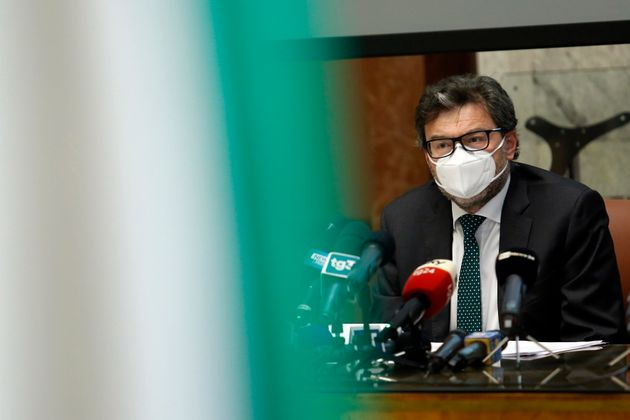 The Italian Minister of Economic Development Giancarlo Giorgetti during a press conference following...