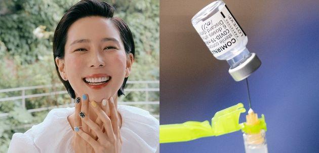 김나영이 코로나19 백신 1차 접종을