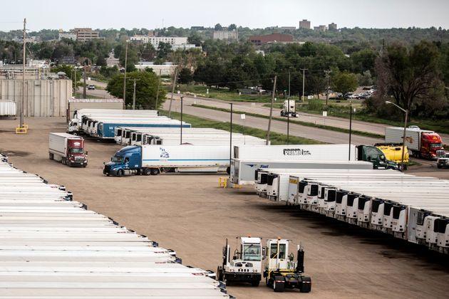 Inactividad en una planta procesadora de JBS en Greeley (Colorado), este