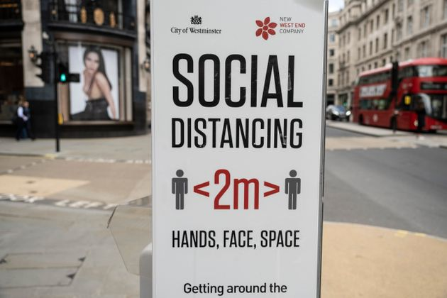 Social distancing sign on Regent Street 'Hands, face, space' on 26th May 2021 in London, United