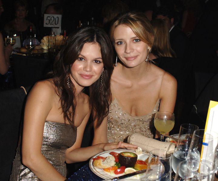 Rachel Bilson and Mischa Barton during The 57th Annual Emmy Awards.