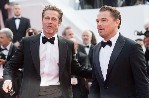Brad Pitt et Leonardo DiCaprio avant la projection de