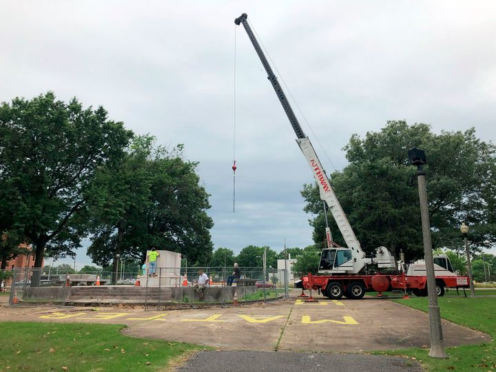 A heavy crane that will be used to help dig up the remains of former Confederate Lt. Gen. Nathan Bedford Forrest and his wife