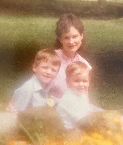 The author with her sons Eric (left) and Kyle (right).