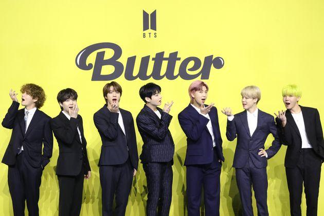 그룹 방탄소년단(BTS) 뷔(왼쪽부터), 슈가, 진, 정국, RM, 지민,
