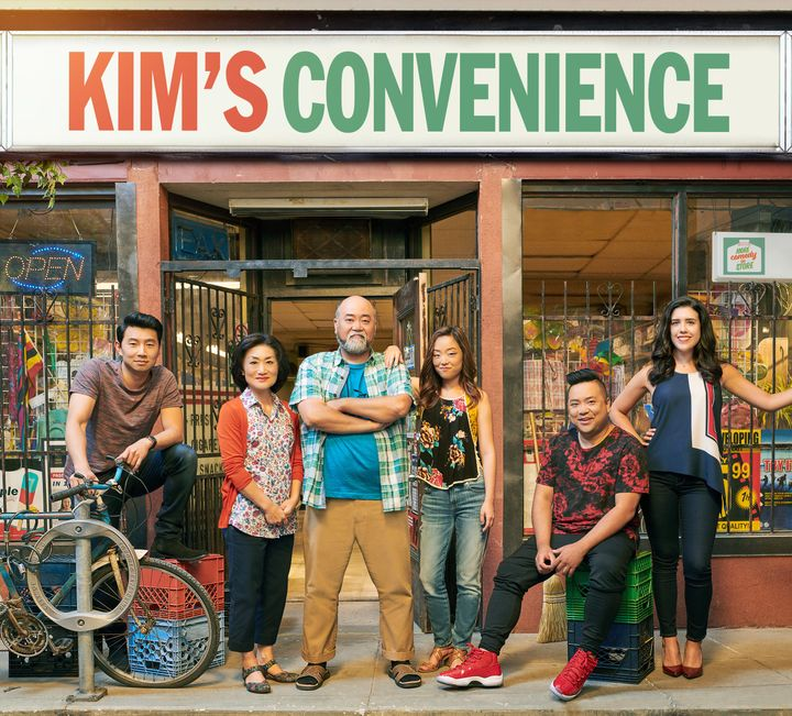 """The cast of """"Kim's Convenience"""": (from left to right) Simu Liu, Jean Yoon,Paul Sun-Hyung Lee, Andrea Bang, Andrew Phung"""