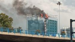 Aparatoso incendio en el Hotel Nuevo Madrid, junto a la M-30, que ha sido