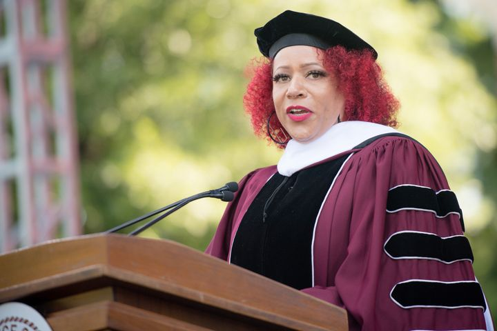 Author Nikole Hannah-Jones speaks onstage during the 137th Commencement at Morehouse College on May 16, 2021, in Atlanta, Geo