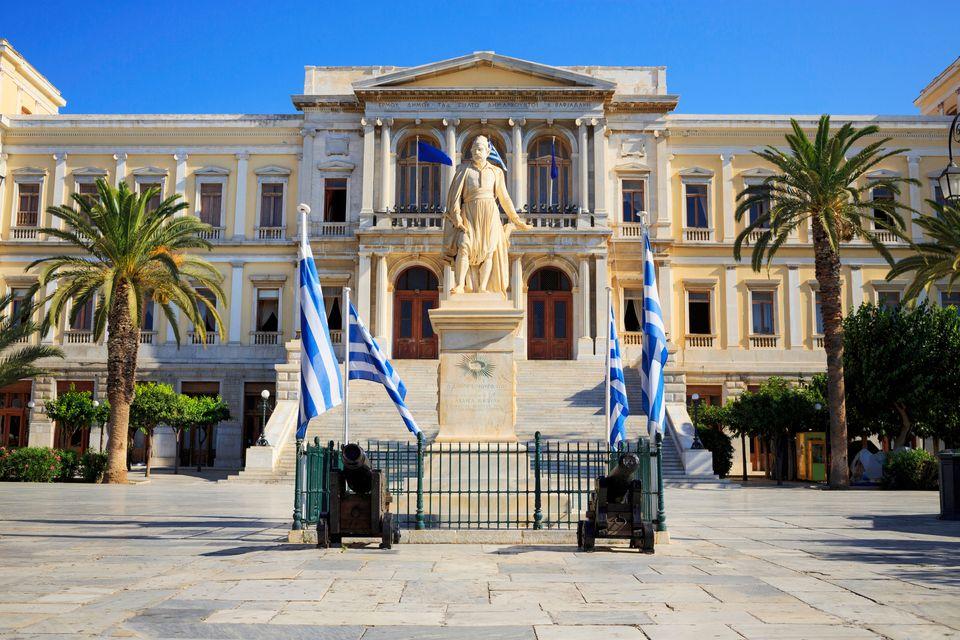 Ermoupolis City Hall. Ermoupoli port. Greek island Syros. Syros is a Greek island in the Cyclades group...
