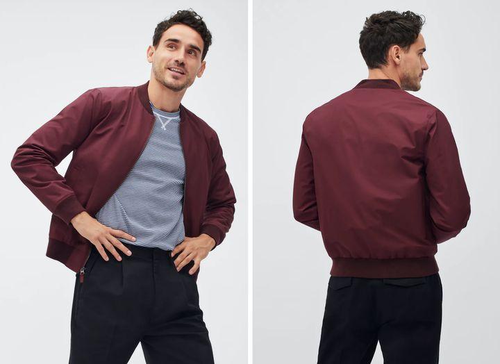"The Boulevard bomber jacket from <a href=""https://bonobos.com/products/the-boulevard-bomber?color=burgundy"" target=""_blank"" rel=""noopener noreferrer"">Bonobos</a>, $169."