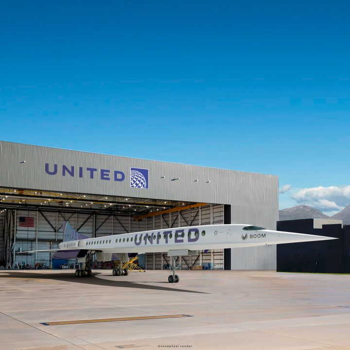 This photo provided by Boom Supersonic shows an artist's rendition of United Airlines Boom Supersonic Overture jet. United said Thursday, June 3, 2021 that it reached a deal with startup aircraft maker Boom Supersonic to buy 15 of Boom's Overture jets. The planes haven't been built yet, but Boom says they will fly at 1.7 times the speed of sound, or around 1,300 mph. (Boom Supersonic via AP)
