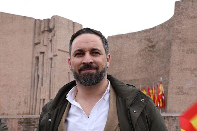 El presidente de Vox, Santiago Abascal, en la manifestación en la Plaza de Colón en Madrid,...