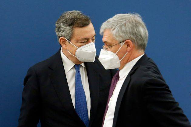 The minister of Minister of Economy Daniele Franco and the Italian Premier Mario Draghi during the press...