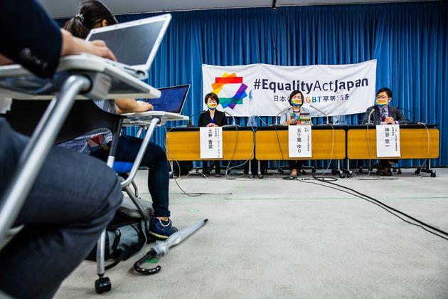 文科省で記者会見を開いたEquality Act