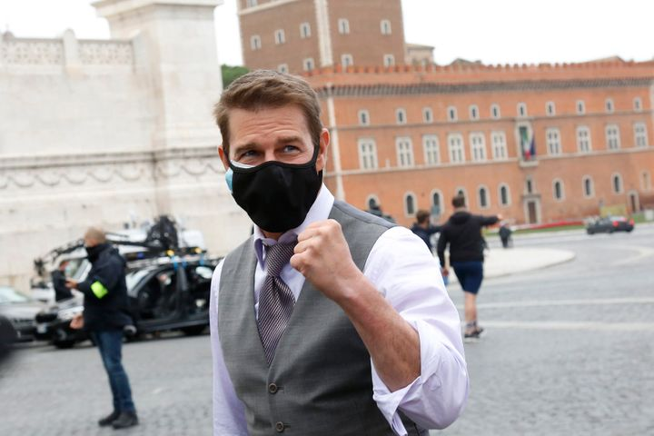 """Tom Cruise on the """"Mission: Impossible 7"""" set in Italy in November 2020."""