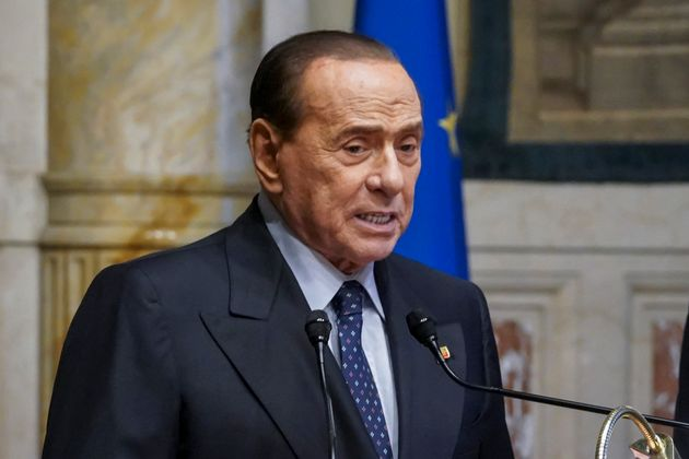 ROME, ITALY - FEBRUARY 09: Silvio Berlusconi speaks to media following a meeting with the designated...
