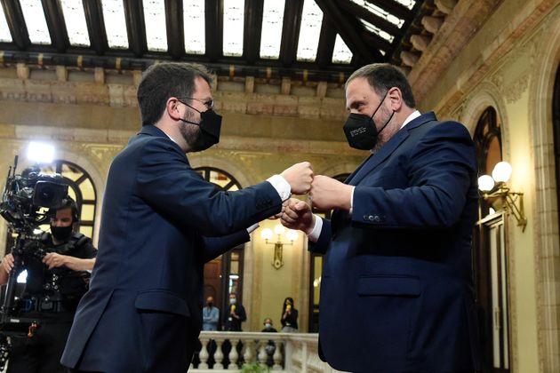 El presidente de la Generalitat, Pere Aragonès, y el líder de ERC, Oriol