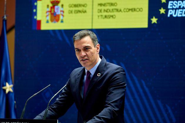 El presidente del Gobierno, Pedro Sanchez, interviene en un evento en el