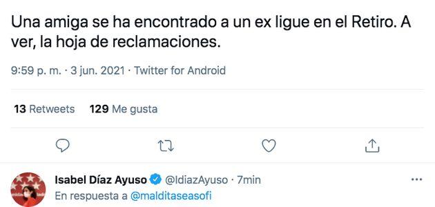 Isabel Díaz Ayuso responde a un