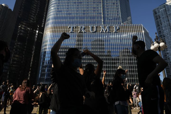 Supporters celebrate near Trump International Hotel & Tower in Chicago following the declaration of victory for President
