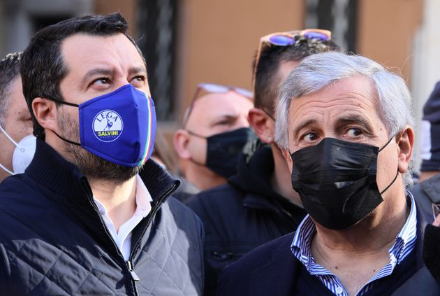ROME, ITALY - DECEMBER, 23,2020: Matteo Salvini and Antonio Tajani attend the demonstration by merchants,...