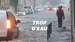 Les rues de Reims sous les eaux après un violent orage et de fortes
