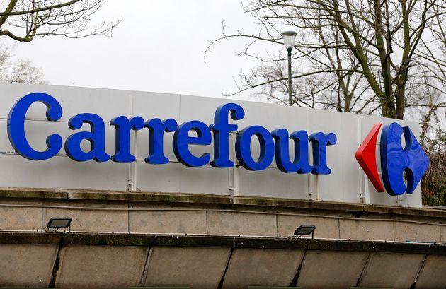 Le logo d'un magasin Carrefour à Paris le 13 janvier 2021 (photo