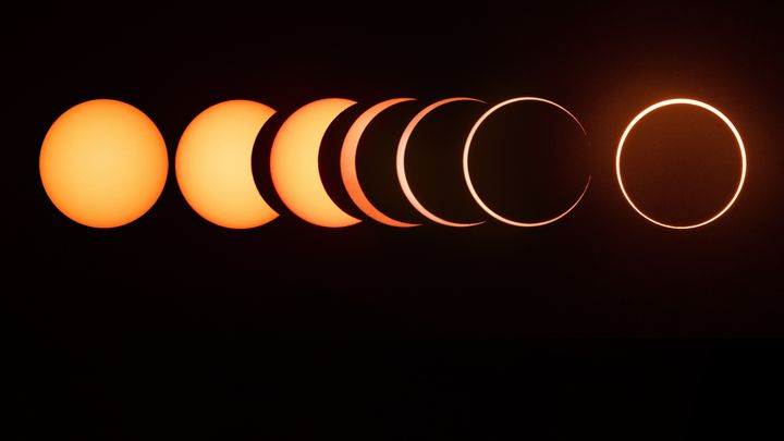 The entire sequence of a 2019 annular solar eclipse.