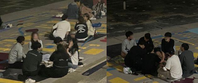 부산 수영구 민락수변공원에서 입장객들이 5인 이상 모여 앉아 있다.
