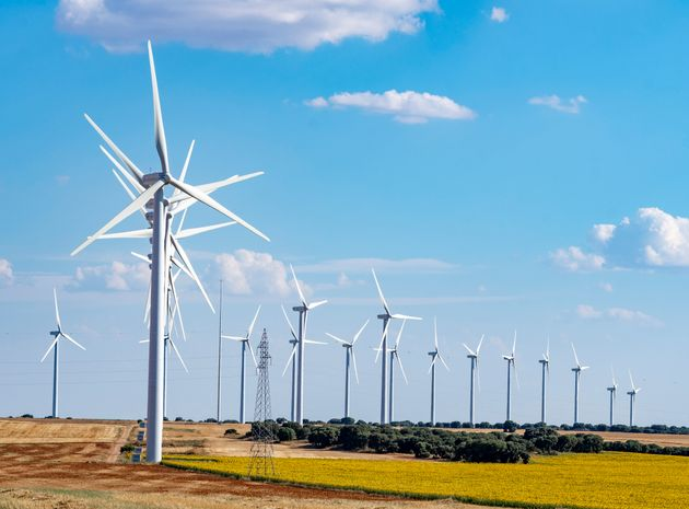 Wind farm with several dozen wind turbines. A new technology that coexists with the agricultural landscape...